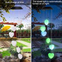 Nuevo Control de Luz Inteligente Solar Estilo De Amor Viento Chime Corredor Decoración Colgante 6 F5 Lámpara Beads Panel solar Negro Colorido Luz