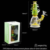 7 '' Glass bong tubulação de água dab plataforma de silicone bong banho de óleo de tabaco ferramenta acessórios fumar transporte livre !!