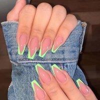 2021New Neon Fake Французские ложные ногти легкие износа нажимать на ногте Удлиненная балерина V формы советы маникюра