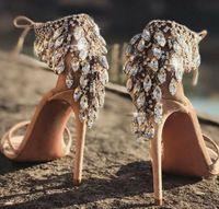 Verano Bling Diamantes Sandalias Rhinestone Back Funda Boda Mujer Gladiador Suede Strapegrador Tacón alto Zapatos Mujer Shiner Crystal Lace Up Bomba de novia