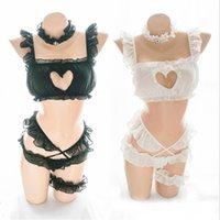 Japanische Baby Puppe Womens Lolita Cosplay Sexy Kleidung Spitze Erotisches Kawaii Hohl Herz 5 Stück Pyjama Set