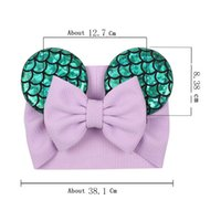 Big Bow Wide Haidband Carino Accessori per bambini Sequined Mouse Ear Girl Headband 16 Colori Nuovo Design Holidays Trucco Costume Band PPD3265