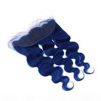 Dunkelblau malaysische body wave menschliche haare fefts mit spitze frontal verschluss 13x4 körperwelle reine blaue jungfrau haare webart bündel mit frontal