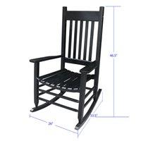 Waco Porch Rocker / Chaise à bascule, facile à assembler en bois de taille confortable avec coussin, chaise de journal à usage extérieur ou intérieur, noir