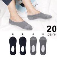 Calcetines para hombres 40 piezas = 20 pares de algodón hombres invisibles bote de color sólido sin-silicona anti - patín puro verano1
