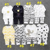 Enfants Pyjamas Ensems Insch Kids Garçon Filles Enfant à manches longues Homewear Two Piece Vêtements Coton Vêtements de nuit T-shirt Pantalons Tenues G12802