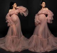 Taille Plus Tulle Robe de maternité pour la photographie Pre Raphaelite Inspirée Robe Boho enceinte Robe du soir See Through Mesh Robe longue AL7659