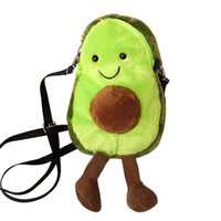 طفل أفخم crossbody لطيف لينة الفاكهة الأفوكادو دمية عملة محفظة الكرتون محشوة حقيبة الكتف مع سحاب للفتاة