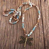Collane del pendente RH Fashion Boho Gioielli Boho 6mm Pietre naturali e vetro collana di vetro collana bohemai perline annodato per le donne regalo1