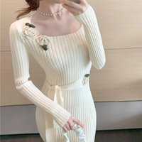 Slim Sweater Dress Women Sexy Elegant Knitted Dress Female A...