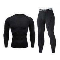 Tute da uomo TRAINKSUMOX Compressione Compressione Uomo Abbigliamento sportivo Asciugatura rapida MMA Set Set di t-shirt T-shirt con scollo a colori solido Gym Fitness Sport Sport Set1