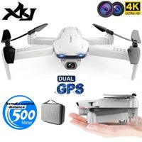 XKJ GPS Drone S162 4K 1080P HD камера 5G WiFi FPV складной Quadcopter одно ключ возвращается RC расстояние 500 метров Длинный аккумулятор 201221