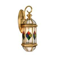 Estilo europeo Lámpara de pared de cobre Retro Romántico Romántico Avesión Antirust Villa Jardín Balcón Corredor Glass Outdoor Wall Lights E27 LED Bulbo