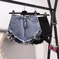 Kkillero разорвал отверстия джинсы уличные носить высокую талию бахрома джинсовые джинги горячие летние сексуальные шорты Femme плюс размер 5xL Y200822