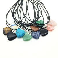 Colares de Couro Colares Declaração Jóias Healing New Crystals Heart Moon Natural Pedra Pingentes Pedra Colar 103 K2