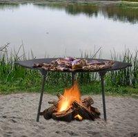 Tragbare Gusseisen Barbecue Grill Outdoor Selbstfahrer Herd Camping BBQ Grills Gusseisen Backen Pan Brat Pan Courtyard Bonfire 34 cm 146