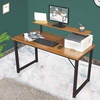 Computertisch mit Monitor-Regal, 55-Zoll-Büro-Home-Büro, moderner, einfacher Computerschreibtisch mit dickerer Tischplatte mit dickerer Tischtisch