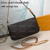 Hohe Qualität Mode Frauen Handtaschen 22cm Pochette Kupplungsbeutel Doppel Gürtel Damen Kreuz Körper Umhängetaschen Kleine Beutel mit orange Kiste