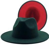 2021 nuovo esterno turchese interno patchwork rosso patchwork in lana jazz cappelli fedora inverno verde scuro donne donne elegante signora chiesa panama cap