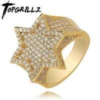 New Iced Out esagono stella anelli per uomini / donne micro Micro oro pavimentato oro argento finitura cubica zircone fascino hip hop gioielli anello regalo Y0122
