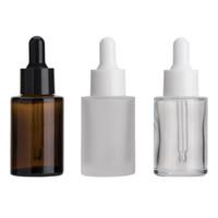 Bottiglia piatta a bottiglia di vetro 30ml Tracolla smerigliata / trasparente / Amber Round Olio Essenziale Bottiglie di siero con gli occhiali Essenza cosmetica da incasso