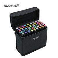 TouchFive 168 Sketch Markers Cepille Pens Conjunto Manga Marcadores de colores Conjunto Doble Head Art proveedor Pinte Pen Draw Marker para el estudiante 201212