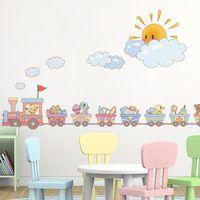 Etiquetas engomadas de la pared [Shijuehezi] Tren creativo DIY Dibujos animados Animal Toys Calcomanías para niños Habitaciones Dormitorio para bebé Decoración del hogar