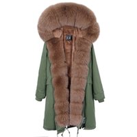 Mao Maokong Sonbahar Ve Kış Yeni Fox Kürk Over-the-Diz Stili Üzerinden Kadın İnce Sıcak Ceket Yeni Kadın Mont 201112