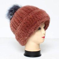 비니 / 두개골 모자 2021 패션 럭셔리 정품 모자 겨울 여성 모피 POM 모자와 함께 진짜 니트 두꺼운 캐주얼 모자