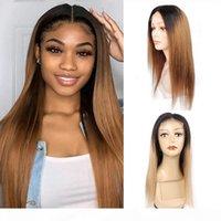 KISSHAIR 4x4 lace closure wig T1B27 T1B30 ombre color Brazilian human hair wig golden blonde medium auburn front lace wig