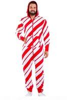 2020 Homens Natal Onesies Home Desgaste Deer Snowman Stripe Imprimir Multicolor Grande Zíper Zíper Homens Jumpsuit Casual Pijama Fall Inverno Novo
