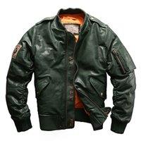 Veste en cuir AVFLY DOWN Cuir en cuir veste en cuir végétale en cuir bronzé Collier Collier Collier Uniforme MA-1 Veste de vol