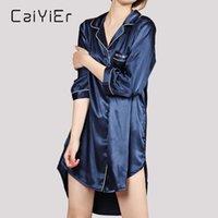 Ropa de dormir de las mujeres Caiyier otoño invierno camisón para las mujeres sexy seda seda noche vestido suelto sueño ropa de hogar tamaño grande s-5xl pijam