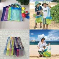 24 * 25 cm Çocuklar Plaj Örgü Çanta Kabuk Depolama Net Çanta Ayarlanabilir Sapanlar Tote Oyuncak Örgü Açık Çanta 8 Renkler LJJA639 60 adet 194 G2