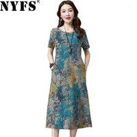 Günlük Elbiseler NYFS 2021 Yaz Elbise Vintage Pamuk Keten Baskı Uzun Vestidos Elbise Robe M-4XL Size1