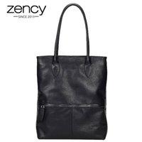 Zency Klasik Siyah Kadınlar Çanta 100% Hakiki Deri Günlük Casual Tote Zarif Bayan Omuz Çantaları Büyük Alışveriş Çantaları
