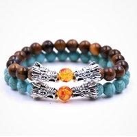 Braccialetto perline Nuovo braccialetto di perline di pietra da 8 mm con braccialetto di drago del drago della tigre della roccia vulcanica della lava nera