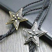 Bolo التعادل الجديد pentagram الرجعية قميص سلسلة كبيرة نجمة طوق القلائد طويلة العنق قلادة 1