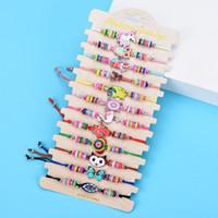 2021 Kids Butterfly Bee Bracelet For Children Crystal Beads Polymer Clay Elastic Charm Bohemia Rope Braid Friend Bracelet Jewelry Girl Gift