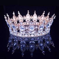 Vintage Barock Königin König Bride Tiara-Krone für Frauen Kopfschmuck Prom Braut Hochzeit Tiaras und Kronen Braut Haarschmuck Zubehör AL7677