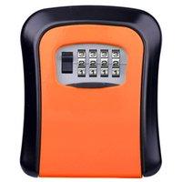 Bloqueio chave caixa exterior montado alumínio liga caixas caixas à prova de intempéries de intempéries 4 dígitos armazenamento de combinação interna multi cores