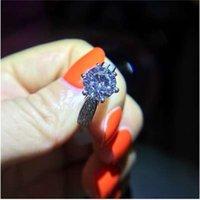 Perdere denaro Promozione 100% 925 Sterling Silver Gioielli 8mm 2 cz Diamant Zircone Anelli di nozze per le donne YH012