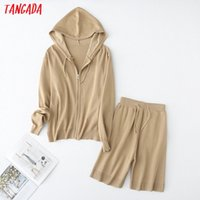 Tangada korea chic solid hood knitted suit women shorts set knitted suit 2 piece set sweet top and shorts YU65 A1111