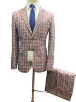 Herrenanzüge Blazers Roettoni Herren Hochzeitsanzug Zweiteiliger fester Plaid Gute Qualität Royal Blue and Red Tailored Mantel Mode Fabrik Direct S