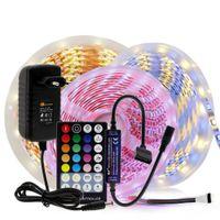 LED قطاع RGB / RGBW / RGB + CCT / Double White LED ضوء مرن 5050 5M 300 LEDS + RF التحكم عن بعد + DC12V محول الطاقة
