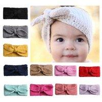 Crianças menina faixa de coelho orelhas de malha fita cor sólida cor nó de turbante orelha bebê orelha aquecedor moda acessórios de cabelo 12 cores