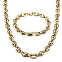 Collier de bijoux en acier inoxydable 2020 pour hommes Femme Femme Cafe Bean Forme Melon Graine Chaîne en acier inoxydable Collier Bracelet Ensemble de bijoux