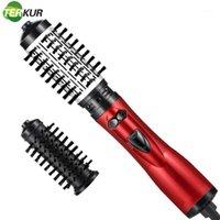 Asciugacapelli elettrico Spazzola per capelli raddrizzatore per capelli Bigodino Iron Volumizzatore Ruota un passo con i soffiatori sostituibili Hot Air Comb 360 rotante1