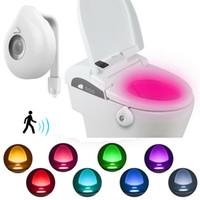 8 couleur LED lumineux lumineux lumineux lumineux étanche Contrôle intelligent induction PIR Capteur de mouvement WC Siège de toilette RVB Lampe lumières de salle de bain commode