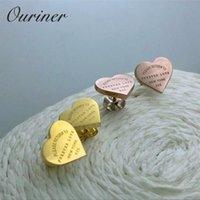"""Edelstahl Rose Gold Farbe Luxus Liebe Herz Ohrring Frauen Für immer Liebe """"Stempel Frauen Stud Ohrring Schmuck"""